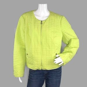 """Chico's Lime Green Wind Jacket Size 2 """"LARGE"""""""